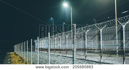 fence boarder security night lights barrier zone area