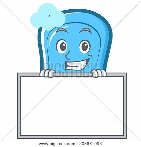 Grinning with board blue soap character cartoon vector illustration