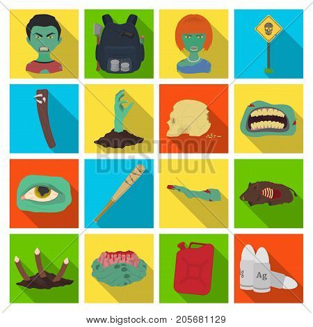 Zombies, man, terrible, and other web icon in flat style.Apocalypse, dead, infected, icons in set collection.