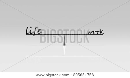 3D Rendering Of Work Life Balance, Business Work Life Concept