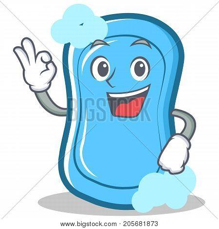 Okay blue soap character cartoon vector illustration
