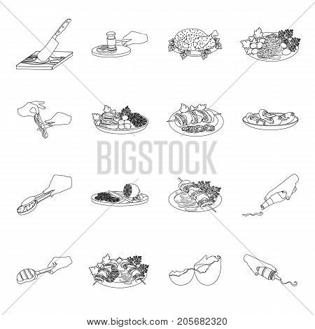 Fried chicken, cooking chop, slicing vegetables, shish kebab and other elements of cooking. Food and Cooking set collection icons in outline style vector symbol stock illustration .