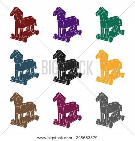 Trojan horse icon in black design isolated on white background. Hackers and hacking symbol stock vector illustration.