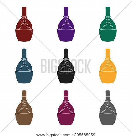 Bottle of wine icon in black design isolated on white background. Wine production symbol stock vector illustration.