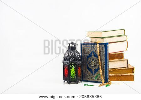 koran (holy book of Muslims) with lightened Lantern style Arab or Morocco