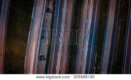 Over Road City Highway At Night - Bird Eye Viwe - Drone -top View