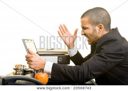 Business Man Screaming At Laptop