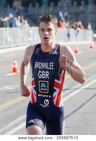 STOCKHOLM - AUG 26 2017: Leading triathlete Jonathan Brownlee running in the Men's ITU World Triathlon series event August 26 2017 in Stockholm Sweden