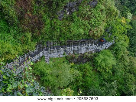 The Wudang MountainsHubei China. Many Taoist monasteries to be found thereIt's world heritate and famous in one of China. This here have a good weather sometime it a lot of the fog.
