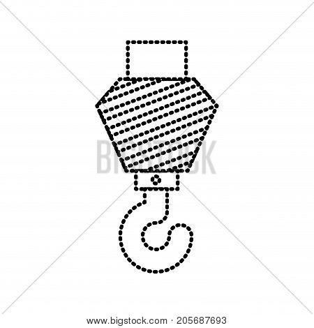crane hook flat icon monochrome dotted silhouette vector illustration