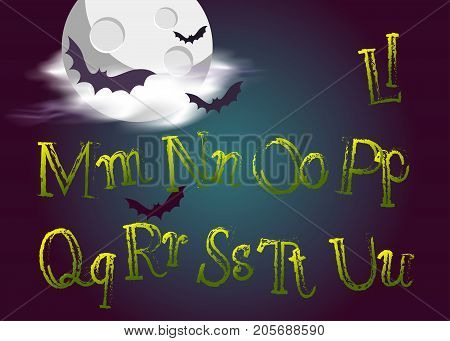 Halloween Jumping Letters. Evil Vector Type in Gothic Style for Halloween Card. Grunge Green Handwritten Alphabet. Fun Typeset on Dark Background with Night Moon Clouds and Bats.