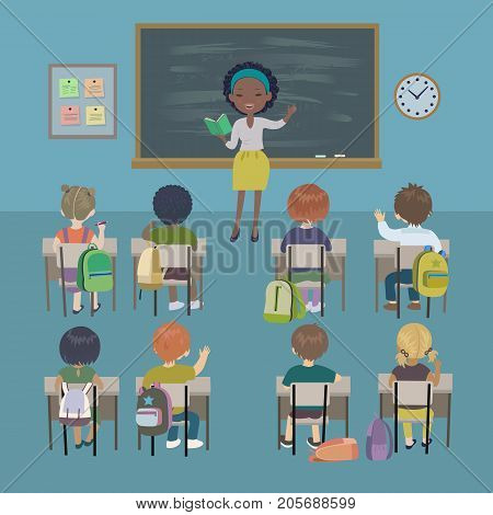 Teachers day background. School lesson. Little students and african american teacher in a classroom. Isolated vector illustration.