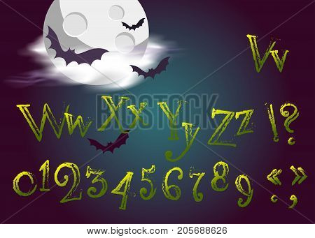 Halloween Letters in Cartoon Movie Style. Funny and Scary Vector Type in Gothic Style for Halloween Holiday. Grunge Green Handwritten Alphabet. Fantasy Typeset for Title Text Greeting Card.