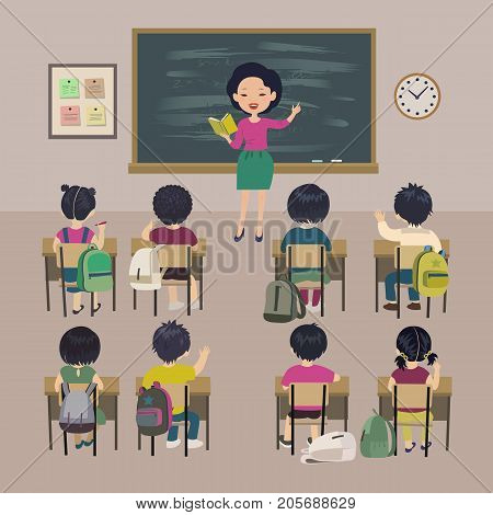 Teachers day background. School lesson. Little students and asian teacher in a classroom. Isolated vector illustration.