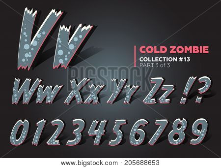 3D Halloween Vector Monster Font. Spooky Cartoon Letters. Funny ABC in Horror Style. Typeset for Halloween Holiday Card Banner Placard. Type Colored Like Toxic Monster.