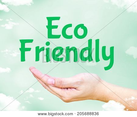 Eco Friendly Floating On Open Hand With Light Green Sky With Cloud,eco Environment Concept