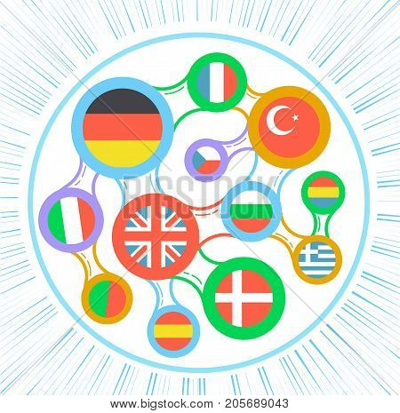 Interrelated Flags Countries Icon