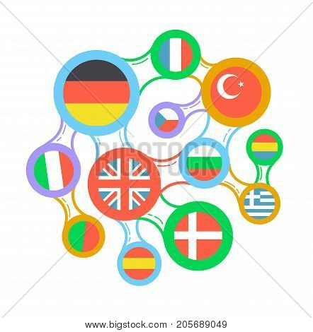 Interrelated Flags Countries Linear Icon