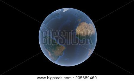 Mid-Atlantic Ridge the Atlantic Ocean between America and Africa on the Earth Ball an isolated globe on a black background 3d rendering