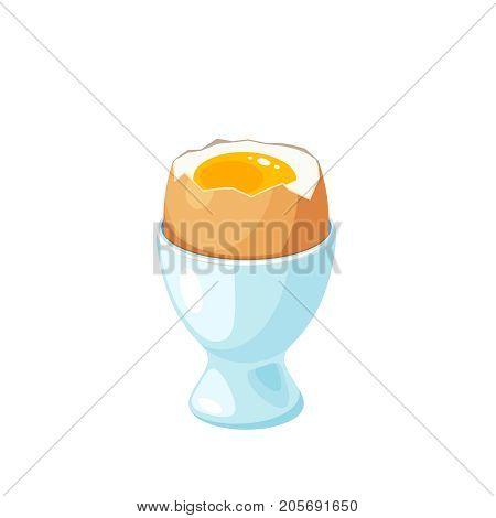 Soft boiled egg in eggshell in egg holder. Vector illustration cartoon flat icon isolated on white.