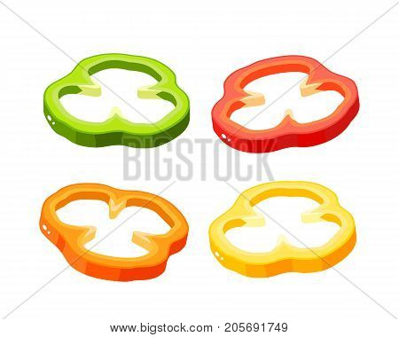 Hamburger ingredient. Sliced bulgarian bell pepper paprika. Vector illustration cartoon flat icon isolated on white.