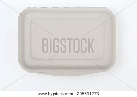 Top view of unbleached plant fiber food box isolated on white with clipping path, Natural fiber eco food box