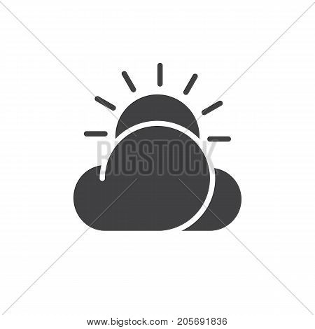 Partly cloudy day icon vector, filled flat sign, solid pictogram isolated on white. Symbol, logo illustration.
