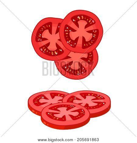 Hamburger ingredient. Sliced tomato. Vector illustration cartoon flat icon isolated on white.