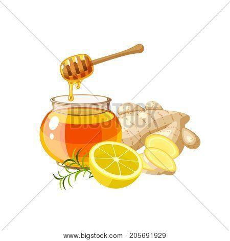 A glass pot full of honey honey dipper sliced ginger and half of lemon. Vector illustration cartoon flat icon isolated on white.