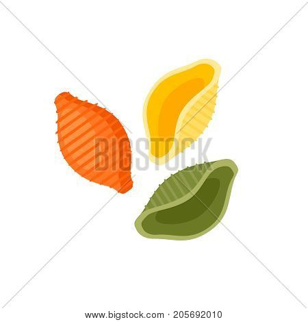 Italian cuisine. Pasta conchiglie tricolor - red green yellow. Vector illustration cartoon flat icon isolated on white.