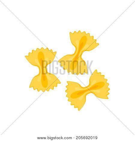 Italian cuisine. Pasta farfalle. Vector illustration cartoon flat icon isolated on white.