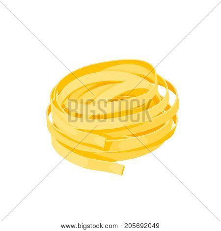 Italian cuisine. Pasta fetuccine - tagliatelle. Vector illustration cartoon flat icon isolated on white.