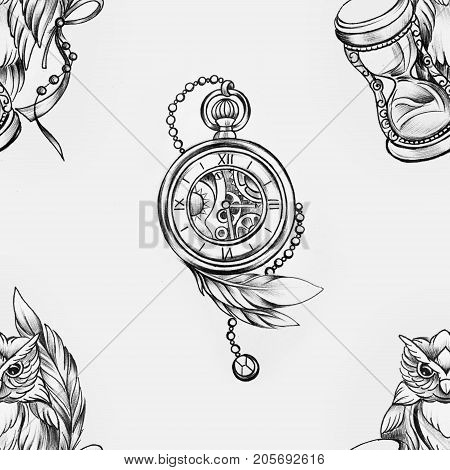 Seamless pattern of a wise owl and clock on white background.