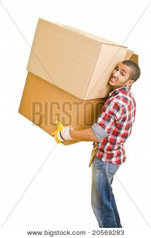 Man Lifting Heavy Boxes