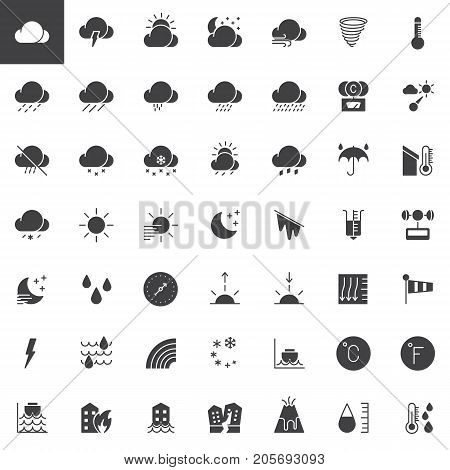 Weather forecast vector icons set, modern solid symbol collection, filled pictogram pack. Signs, logo illustration. Set includes icons as  meteorology, climate, sun, moon, overcast, barometer
