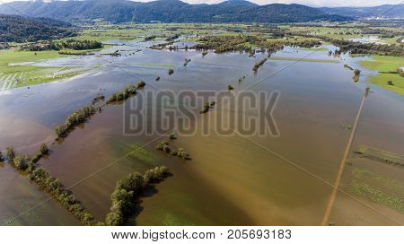 Aerial view of flooded fields. Natural catastrophe at Ljubljana marshes, Slovenia.