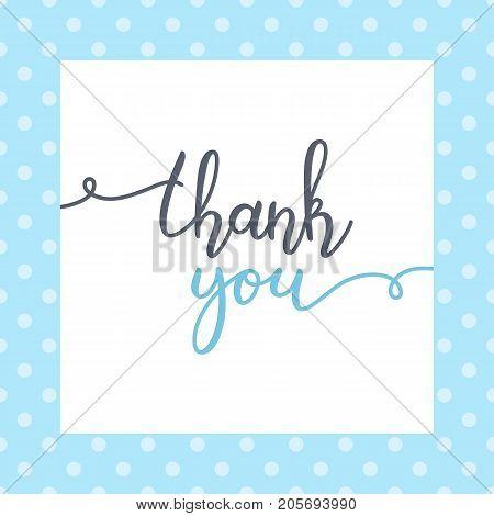 thank you lettering, vector handwritten text, card template