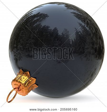 Black Christmas ball decoration New Year's Eve bauble winter hanging adornment souvenir. Traditional ornament happy wintertime holidays Merry Xmas symbol closeup. 3d rendering illustration
