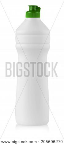White plastic bottle with liquid laundry detergent cleaning agent bleach or fabric softener isolated on white background
