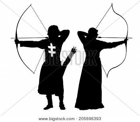 archer man and woman bowman silhouette set vector