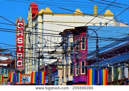 September 19, 2017 in San Francisco, CA:  Castro Theatre built in 1922 which is a registered historical landmark where people can watch movies and live performances amongst elegant Spanish architecture taken at the Castro District in San Francisco, CA