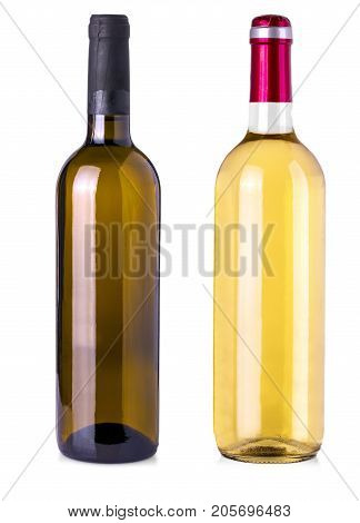 Bottle of wine on isolated white background. Clipping Path