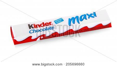 Russia Kamchatka - SEPTEMBER 20 2017. Kinder Chocolate Maxi snack made from milk and soft sponge cake covered in chocolate. Kinder Delice is a children snack made by Ferrero.