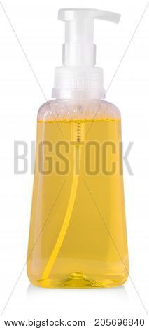 orange plastic bottle with liquid laundry detergent cleaning agent bleach or fabric softener isolated on white background