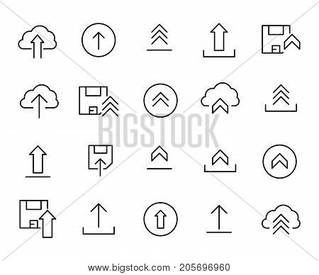 Premium set of upload line icons. Simple pictograms pack. Stroke vector illustration on a white background. Modern outline style icons collection.