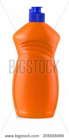 Red plastic bottle with liquid laundry detergent cleaning agent bleach or fabric softener isolated on white background