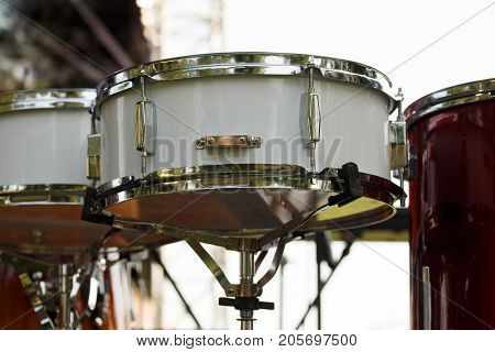 Live music background. Part of kit - snare drum on stage