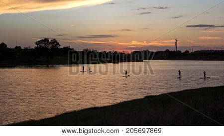Stand Up Paddle Boarders in Lake at Sunset