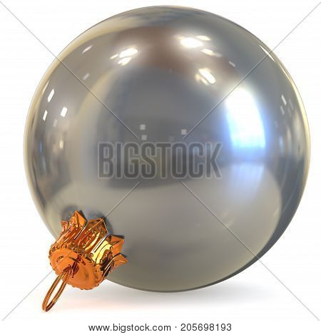 Christmas ball chrome silver decoration white New Year's Eve bauble white hanging adornment souvenir. Traditional ornament happy wintertime holidays Merry Xmas symbol metallic. 3d render illustration
