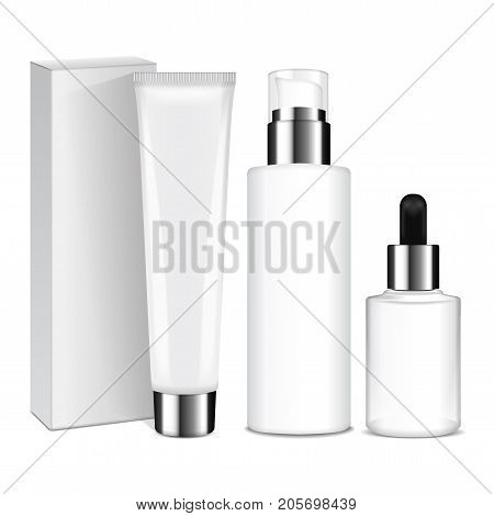 Realistic cosmetic bottles with silver caps. Vector containers and tubes for cream, lotion, gel, balsam, foundation cream. 3d Illustration for your design
